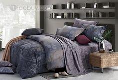Grunge Grey Unique Pattern Printed 4 Piece Cotton Comforter Sets