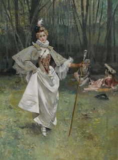 An elegant beauty in the park by François Flameng (1856-1923)