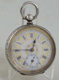 a195f810d70 Antiques Atlas - Decorative Silver Ladies Pocket Watch Relógio De Bolso De  Prata
