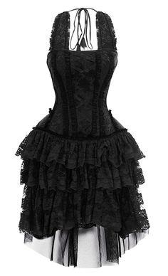Robe noire à motif floral avec laçage et dentelles élégant gothique