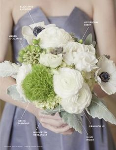 Seeded Eucalyptus, Black-Eyed Anemone, Hypericium Berry, Ranunculus, Dusty Miller, Mini Green Hydrangea & Green Dianthus