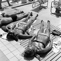 Sunbathing in France, 1945.