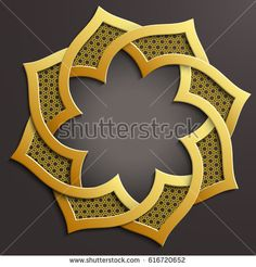 Abstract 3D round infographic golden shape with arabesque design