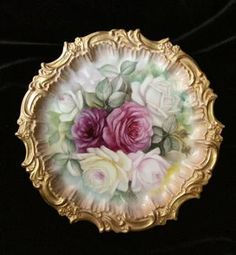 GORGEOUS Signed CABBAGE ROSES T&V Limoges Large Plate
