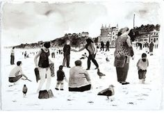 A study of people on the beach at Margate by Matthew Booker  and a screen print below of people paddling with seagulls in attendancecall...