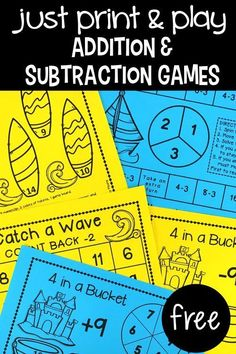 Spark your students' interest with new math games! These games are great practice to increase math fact fluency! and they are free! These math games are great for centers, stations, rotations, early or fast finishers, homework for families to complete tog Subtraction Games, Addition And Subtraction, Math Addition, Addition Facts, Math Fact Fluency, 1st Grade Math, Second Grade, Grade 1, Math Practices