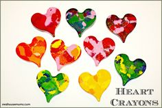 Heart Crayons. Heart Crayons are an adorable, colorful, inexpensive, easy, and fun Valentine's Day gift for your children's friends.  Your children will enjoy helping with the project!