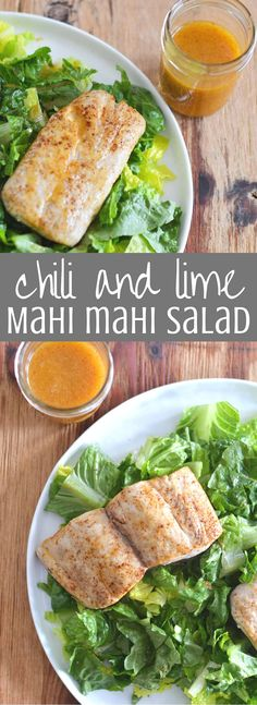 Chili and Lime Mahi Mahi Salad is the perfect healthy dinner recipe! Chili-spiced mahi mahi is baked in the oven and served over a bed of lettuce dressed in a sweet and spicy chili lime dressing. Fresh and nutritious and ready in half an hour, you'll love this easy seafood dinner recipe. Clickthrough to see the full recipe!
