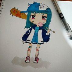 Chica chibi a rotulador #Markers #Dibujo #Draw #Chibi #Adorable #Bonito