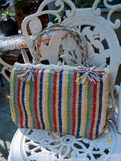 1950's Stripe Straw Raffia Purse Bamboo Plastic by kittyvonpurr, $40.00