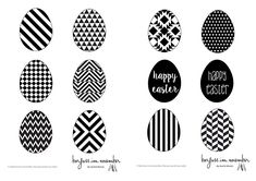 {DIY} Geometrische Deko-Eier aus Papier in black & white - free printable - barfuss.november - Oster-Deko mal anders, geometrische Deko-Eier aus Papier im black & white Design, inklusive kostenl - Bed Cover Design, Bedroom Murals, Egg Decorating, Engagement Ring Cuts, Easy Projects, Stone Painting, Holidays And Events, Easter Crafts, Happy Easter