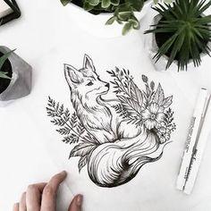 Tattoo fuchs tattoo, schöne tattoos, i Tattoo Sketches, Tattoo Drawings, Body Art Tattoos, Sleeve Tattoos, Tattoos For Forearm, Tattoo Style, Tattoo Trend, Diy Tattoo, Brush Tattoo