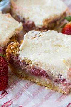 Strawberry Custard Bars have a buttery crust, a super creamy custard-like filling with lots of chopped strawberries, and a cream cheese topping with a little tang. These scrumptious bars are perfect f