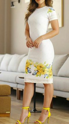 Cute white dress with yellow accents Popular Ladies Trendy Dresses, Elegant Dresses, Cute Dresses, Beautiful Dresses, Casual Dresses, Short Dresses, Mode Outfits, Dress Outfits, Fashion Outfits