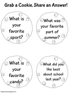 Attach these questions to real cookies! Have families introduce themselves and answer the questions for an easy ice-breaker. 1st Day Of School, Back To School Gifts, Beginning Of School, Going Back To School, Summer School, School Days, School Icebreakers, Icebreaker Activities, Writing Activities