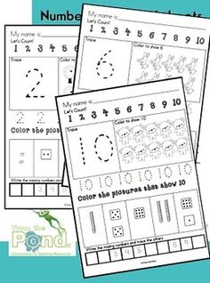Number Worksheets - Writing and Number Concepts 1-10 - From the Pond - TeachersPayTeachers.com