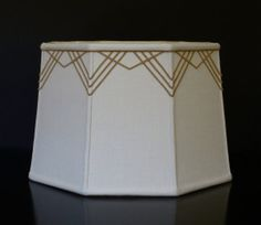 Octagon drum lampshade in linen with art deco by Lampshadesetc, $129.00