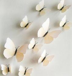 3D Vlinders Gebroken Wit