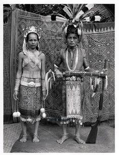 Wedding day of a high ranking Iban couple. Photo by German photographer Hedda Morrison, Sarawak, Malaysia, 1950.