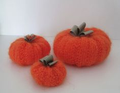 H1 Knitted Decoration Pumpkin set of 3 for Halloween by KnitnWood