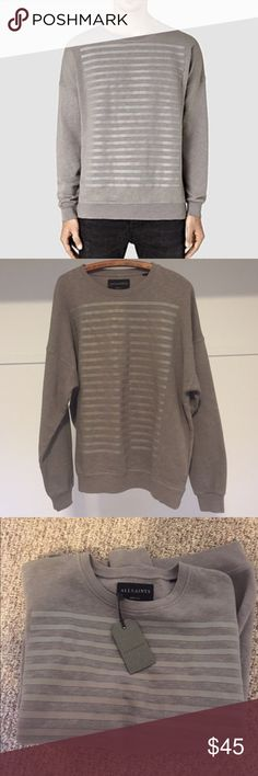 NWT all saints Brand new never worn Mens sweatshirt. Super comfy W cool rubber detailing in the front All Saints Shirts Sweatshirts & Hoodies