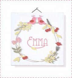tableau bébé personnalisé fleurs rose