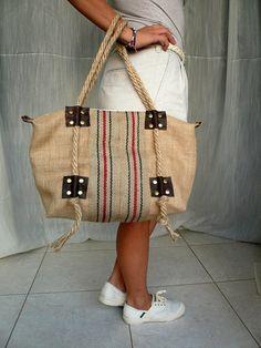 SALE 15 Burlap bag . Tote bag . Leather bag . Brown by LaraKlass,