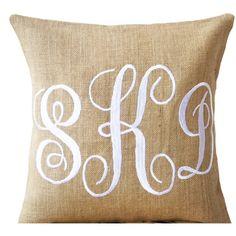 Burlap Monogram Pillows - Custom Monogram Pillow- Cursive Font Three...  (1 1a7c5f2bd