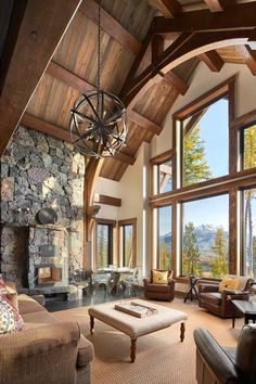 These timber frame great rooms are encorporated into our open floor plans and can be styled to match your taste and your location. Timber Frame Homes, Timber House, Timber Frame Home Plans, Timber Frames, Rustic Home Design, Dream Home Design, Modern Rustic Homes, My Dream Home, Cabin Homes