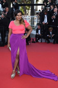 Mindy Kaling at the cannes film festival wearing a pnk and purple Salvador Perez dress is one of the event's prettiest looks of all time.