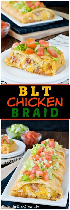 BLT Chicken Braid - bacon, cheese, and chicken inside crescent rolls is a delicious way to do dinner on a busy day. Add lettuce and tomatoes to make it just like the classic sandwich!