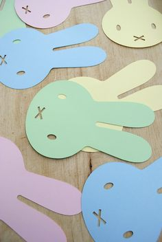 Template for bunny garland or silhouette decoration (looks like Miffy the rabbit!).