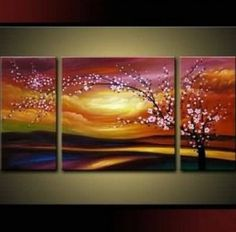 Amazon.com: Plum Tree Blossom 100% Hand Painted Abstract Wall Canvas Art Sets Painting for Home Decoration Oil Painting Modern Art Large Canvas Wall Art Free Shipping 3 Piece Canvas Art Unstretch and No Frame: Home & Kitchen