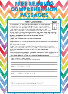 Free Reading Comprehension Worksheets, 2nd Grade Reading Comprehension, Third Grade Reading, Reading Intervention, Reading Passages, Comprehension Questions, Literacy Worksheets, Reading Strategies, Reading Lessons