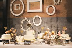 amanda + tyler wedding | cake table | sweets bar | dallas wedding | hickory street annex | b | black and white | DIY wedding | kate foley designs | glitter jars | pink flowers | www.eephotome.com