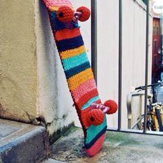 Yarn Bombing - hahaha.. Would love to do this to Olis skateboard!