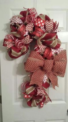 Mesh and burlap candy cane