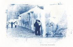 Cyanotype print  Street Kiss Kiss photo Street Kiss by Altphotos, for sale