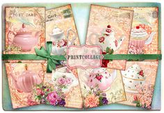 Shabby Chic Teapot Digital Collage Sheet Designed Gift Tags and Cards for Scrapbooking Printable Vintage Paper for Jewelry Holders Tags Card Tags, Gift Tags, Cards, Scrapbook Paper Crafts, Scrapbook Pages, Scrapbooking, Arts And Crafts Projects, Digital Collage, Collage Sheet