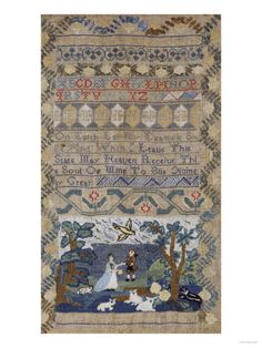 A Rare Needlework Sampler by Sarah Doubt, Massachussetts, 1765 Giclee Print by Charles Deas at AllPosters.com
