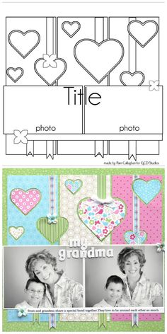 Scrapbook Page Layout Idea ⊱✿-✿⊰ Follow the Scrapbook Pages board visit GrannyEnchanted.Com for thousands of digital scrapbook freebies. ⊱✿-✿⊰