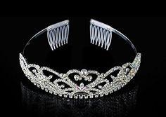 Wedding Bridal Tiara Crown Silver Swarovski Rhinestone Elements Heart Design * You can get additional details at the image link.