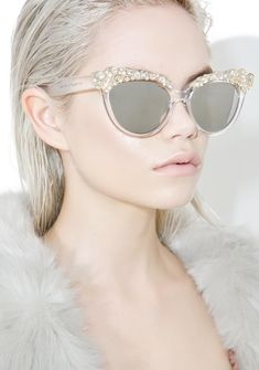 Ice Queen Cat Eye Sunglasses cuz yew can give tha coldest shade bb. These luxe sunglasses feature a cat eye silhouette with crystal clear frames, polarized lens, and swarovski crystal embellishments.