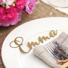 laset cut place card names
