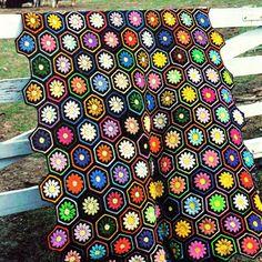 INSTANT DOWNLOAD PDF Vintage Crochet Pattern  Floral Hexagon Afghan Throw Blanket Retro on Etsy, $3.30