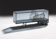 """Over time 5.125"""" d x 20"""" l x 8.5"""" h Kilnformed glass and fabricated steel 2013"""
