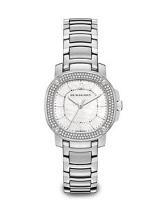 Burberry Britain Diamond, Mother-Of-Pearl & Stainless Steel Bracelet Watch
