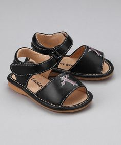 Another great find on #zulily! Black Cross Squeaker Sandal by Laniecakes #zulilyfinds