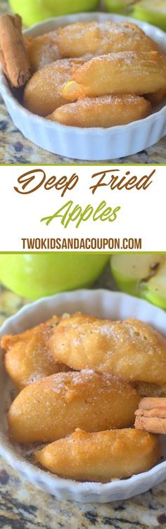 Deep Fried Apples Recipe Looking for a tasty apple recipe to make with all those apples from the orchard? These deep fried apples are a great snack, side or breakfast treat. Easy Desserts, Delicious Desserts, Dessert Recipes, Yummy Food, Deep Fried Desserts, Deep Fried Foods, Food Truck Desserts, Fun Food, Apple Recipes