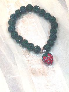 The Sweetest Strawberry Bracelet in Austrian by NorthCoastCottage, $39.00